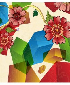 Flowers and Hexagon Wall art