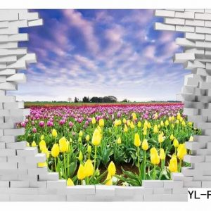 Yellow and Purple Flower Field Wall Art