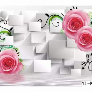 Rose Flower Themed 3D Cube Lattice Wall Art