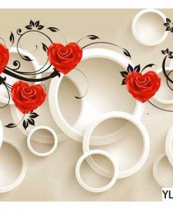Rose Flower Themed Bubble Wall Art