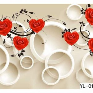 Rose Flower Themed Bubble Wall Art