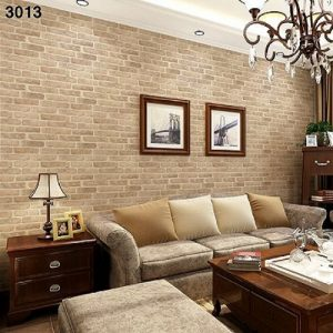 Yellow Gold and Grey Stone Wall Textured Wallpaper