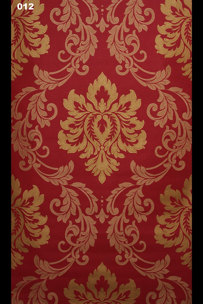 Red And Gold Embossed Damask Wallpaper