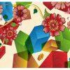 Flowers and Hexagon Wall art