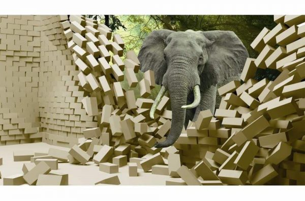 Graceful Elephant in Forest Wall Art